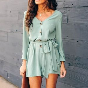"Vici Collection ""Memory Keeper"" Button Down Romper"
